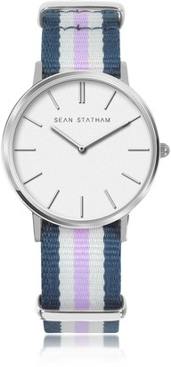 Stainless Steel Unisex Quartz Watch w/Blue and Violet Striped Canvas Band