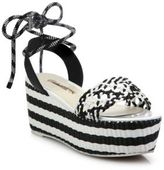 Sophia Webster Naomi Woven Leather Platform Espadrille Ankle-Tie Sandals