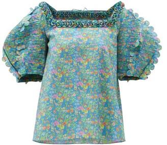 Horror Vacui Isabella Scalloped Floral-print Cotton Blouse - Blue Multi