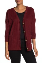 Ady P Brush Ribbed Boxy Cardigan