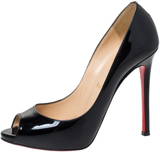 Christian Louboutin Black Patent Leather New Very Prive Peep Toe Pumps Size 37.5