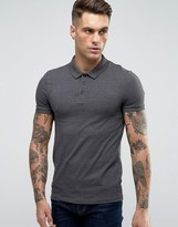 Asos Muscle Polo Shirt In Charcoal Marl