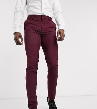 Asos DESIGN Tall wedding skinny suit pants in burgundy