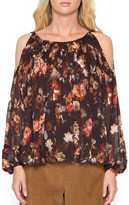 Willow & Clay Floral Pleated Cold Shoulder Top