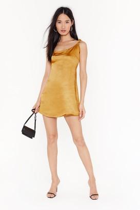 Nasty Gal Womens Stand Tie Me Satin Mini Dress - Gold