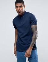 Asos Polo Shirt In Navy Pique With Button Down Collar