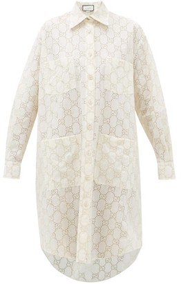 Gucci Gg Broderie-anglaise Cotton-blend Shirtdress - Womens - White Gold