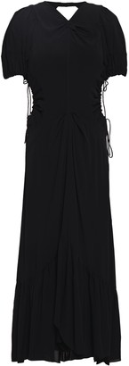 Proenza Schouler Ruched Cutout Crepe De Chine Midi Dress