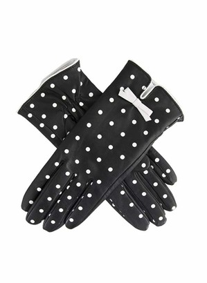Dents Isabella Women's Silk Lined Polka Dot Leather Gloves BLACK/WHITE M
