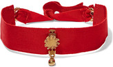 Valentino Cult Grosgrain And Gold-plated Choker - Red