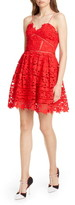Self-Portrait Self Portrait Azalea Lace Fit & Flare Minidress