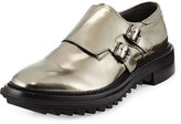 Lanvin Shiny Double-Monk Strap Shoe, Gunmetal