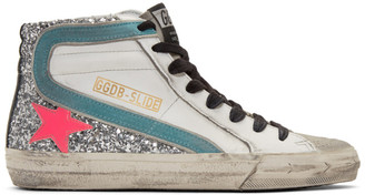 Golden Goose White and Silver Glitter Slide Sneakers