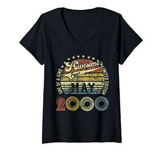 Womens Vintage May 2000 Design 20 Years Old 2000 Birthday Gift V-Neck T-Shirt