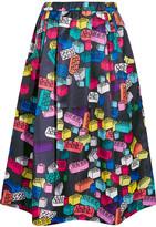 Mira Mikati Printed Satin-twill Skirt - Blue