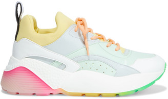 Stella McCartney Eclypse Neoprene And Faux Leather Exaggerated-sole Sneakers