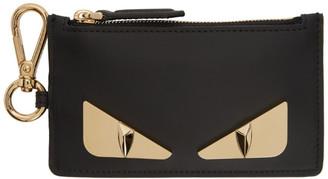 Fendi Black and Gold Bag Bugs Charm Card Holder