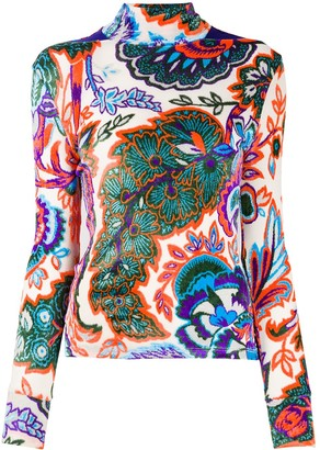Paco Rabanne Floral Print Roll Neck Jumper