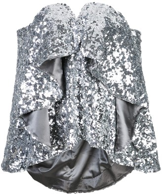 Halpern ruffled sequined top
