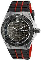 Technomarine Men's Quartz Watch with Black Dial Analogue Display and Red Silicone Strap TM-115184