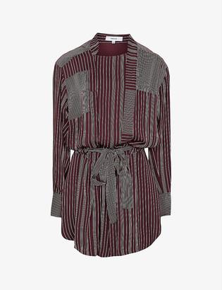 Reiss Albi stripped woven mini dress