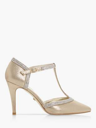 Dune Dilla T-Bar Diamante Pointed Heeled Court Shoes, Gold
