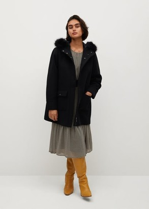 MANGO Faux fur hooded wool coat