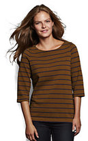 Lands' End Women's Heavyweight Jersey Crewneck Top-Dark Spice Brown