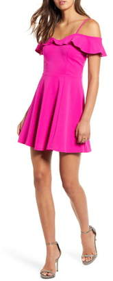 Love, Nickie Lew Ruffle Off the Shoulder Skater Dress