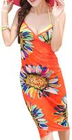 IvyFlair Summer Sunflower Print Backless Beach Dress Wrap Swimsuit Cover Up