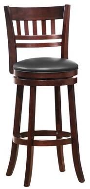 Weston Home Vertical Design Swivel Bar Height Stool, Dark Cherry, Multiple Colors