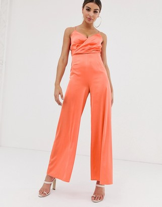 The Girlcode satin wrap front jumpsuit in tangerine