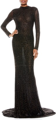 Alice + Olivia Delora Beaded Long Sleeve Cotton Blend Gown