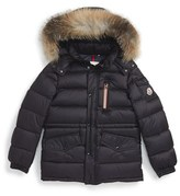 Moncler Boy's Lilian Water Resistant Down Parka With Genuine Fox Fur Trim