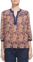 Whistles Lace-Up Print Blouse