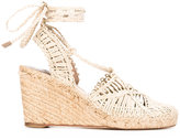 Paloma Barceló braided wedge espadrilles - women - Raffia/Leather - 36