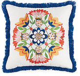 Jessica Simpson Provincial Fringed Floral Medallion-Embroidered Square Pillow