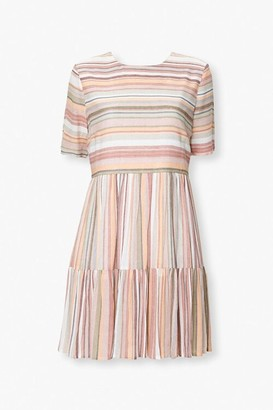 Forever 21 Multicolored Striped Tiered Dress