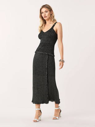 Diane von Furstenberg Brooklyn Metallic-Wool Faux-Wrap Midi Skirt