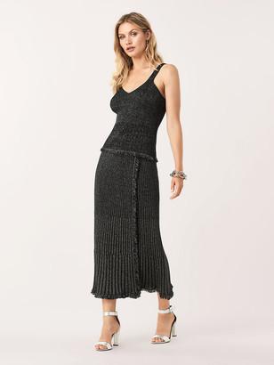 Diane von Furstenberg Brooklyn Metallic-Wool Faux-Wrap Midi Skirt