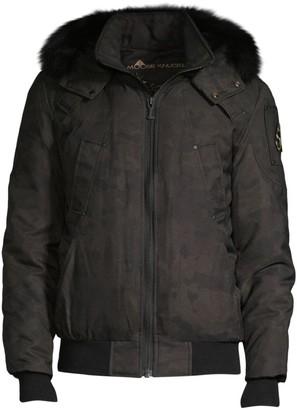 Moose Knuckles Carmacks Fur Trim Camouflage Bomber Jacket