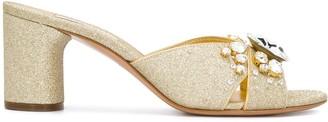 Casadei crystal embellished glitter sandals