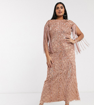 A Star Is Born Plus exclusive embellished maxi dress with fringe sleeves in rose gold