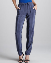 Printed Drawstring Silk Pants