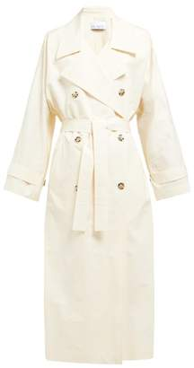 Raey Papery Cotton Blend Long Trench Coat - Womens - Ivory