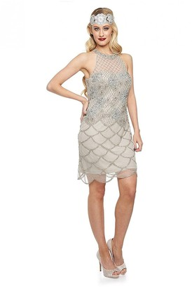 Gatsbylady London Maddie Halter Neck Dress in Silver