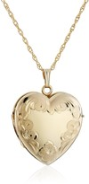14k Yellow Gold-Filled Engraved Four-Picture Heart Locket Necklace