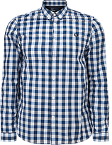 Fred Perry Marl Gingham Long Sleeve Shirt, White Marl/navy