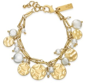 INC International Concepts Inc Gold-Tone Imitation Pearl & Hammered Disc Shaky Charm Bracelet, Created for Macy's