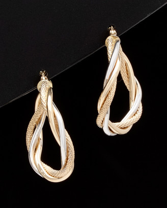 Italian Gold 14K Two-Tone Intertwined Twisted Hoops